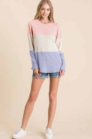 Creamsicle Color Block Waffle Knit Top