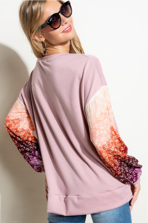 Ombre Vines Mauve Puff Sleeve