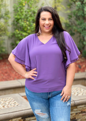 Flutter Sleeve Top in Lilac