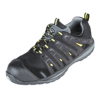 Security Line Falco 4208 Black Yellow Metal Free Composite Toe Safety Trainers, SAFETY TRAINERS, Falco,