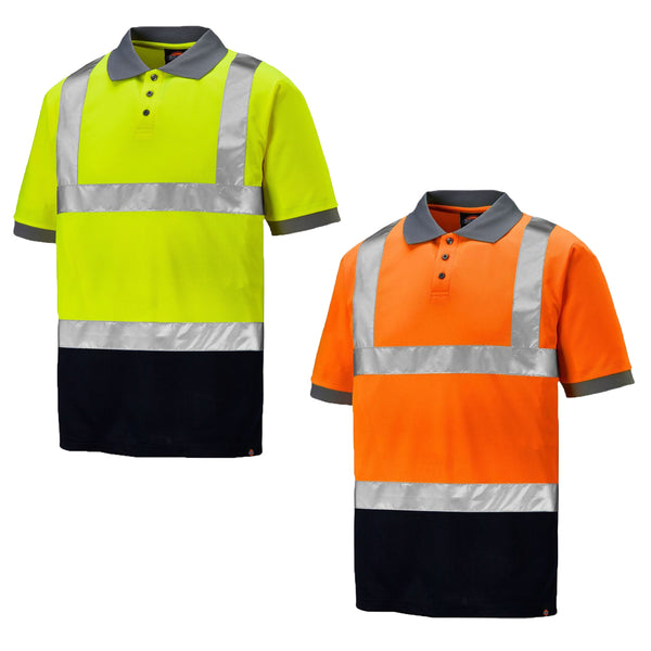 Dickies Two Tone Hi Vis Taped Work Polo Shirt SA22076, HI-VIS T-SHIRTS, Dickies, Workwear Nation Ltd