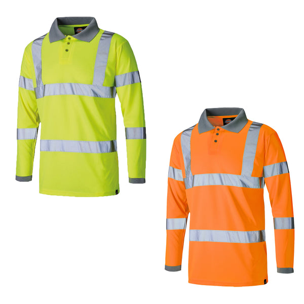 Dickies Hi Visibility Long Sleeve Polo Shirt Hi-Vis SA22077, HI-VIS T-SHIRTS, Dickies, Workwear Nation Ltd