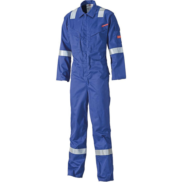 Dickies FR5401 Lightweight Pyrovatex Coverall, Flame Retardant Boiler Suit Royal Blue or Navy