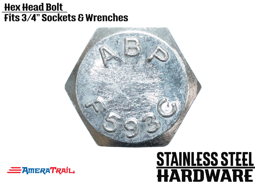 "Stainless Steel Bolt 1/2 x 2"", Hex Head - Available w/ Nut and Washer Hardware"