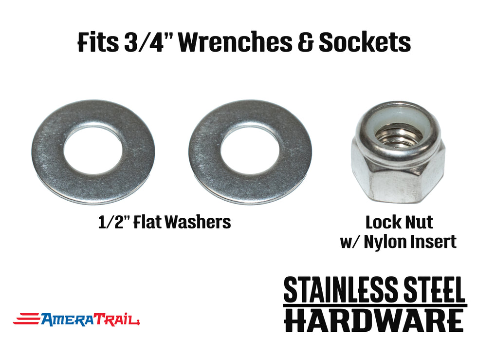 "Stainless Steel Bolt 1/2 x 5 3/8"", Hex Head - Available w/ Nut and Washer Hardware"