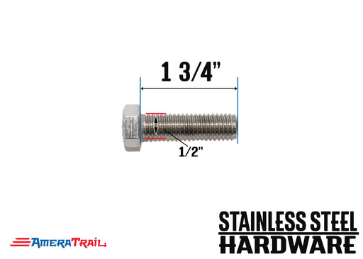 "Stainless Steel Bolt 1/2 x 1 3/4"", Hex Head - Available w/ Nut and Washer Hardware"