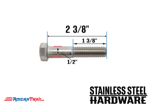 "Stainless Steel Bolt 1/2 x 2 3/8"", Hex Head - Available w/ Nut and Washer Hardware"