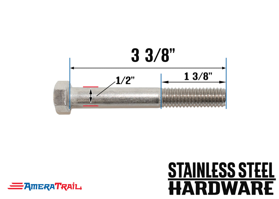 "Stainless Steel Bolt 1/2"" x 3 3/8"", Hex Head - Available w/ Nut and Washer Hardware"