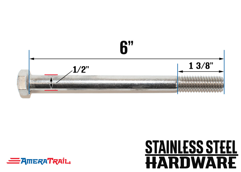 "Stainless Steel Bolt 1/2 x 6"", Hex Head - Available w/ Nut and Washer Hardware"