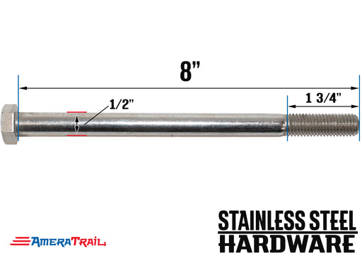 "Stainless Steel Bolt 1/2 x 8"", Hex Head - Available w/ Nut and Washer Hardware"