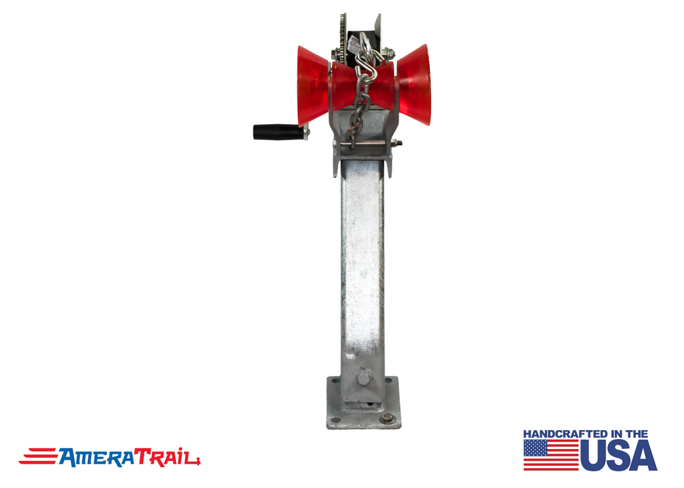 "Adjustable Bow Stop Winch Combo, 10° Lean Adjusts from 20"" to 30"" - Available w/ Fulton 1500lb Winch and Stoltz Roller"