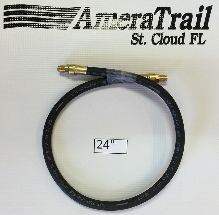 "24"" Brake Line, 1/8"" ID 3/16"" Brass Male Fittings w/ Stainless Flares - Kodiak Hydraulic Brake Hose"