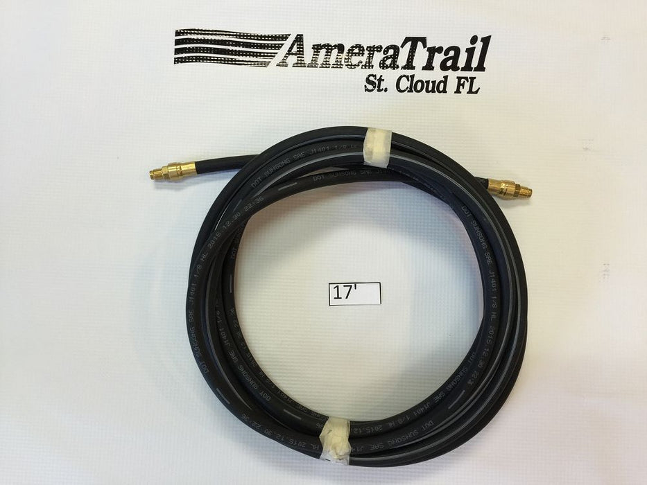 "204"" / 17' Brake Line, 1/8"" ID 3/16"" Brass Male Fittings w/ Stainless Flares - Kodiak Hydraulic Brake Hose"