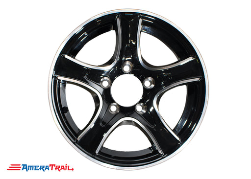 "15"" 5 Lug Thoroughbred Black and Silver Trailer Rim - 5 on 4.5"" Lug Pattern - 6"" Width"