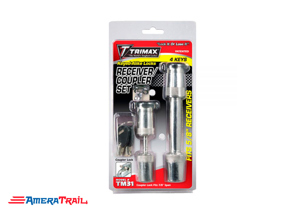 "7/8"" Span Coupler Lock & 5/8 x 2 3/4"" Receiver Lock Set, Keyed Alike w/ 4 Keys, Chrome Plated - Trimax"