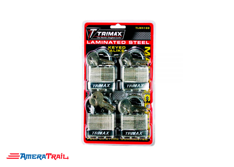 40mm Padlock w/ 1″ x 1/4″ Shackle, 4 Pack, Keyed Alike w/ 8 keys - Trimax