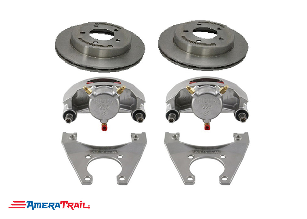 "5 Lug 3.5K Kodiak Brake Kit , STAINLESS CALIPERS w/ Dacromet rotors & Brackets - 5 on 4.5"" Bolt Pattern"