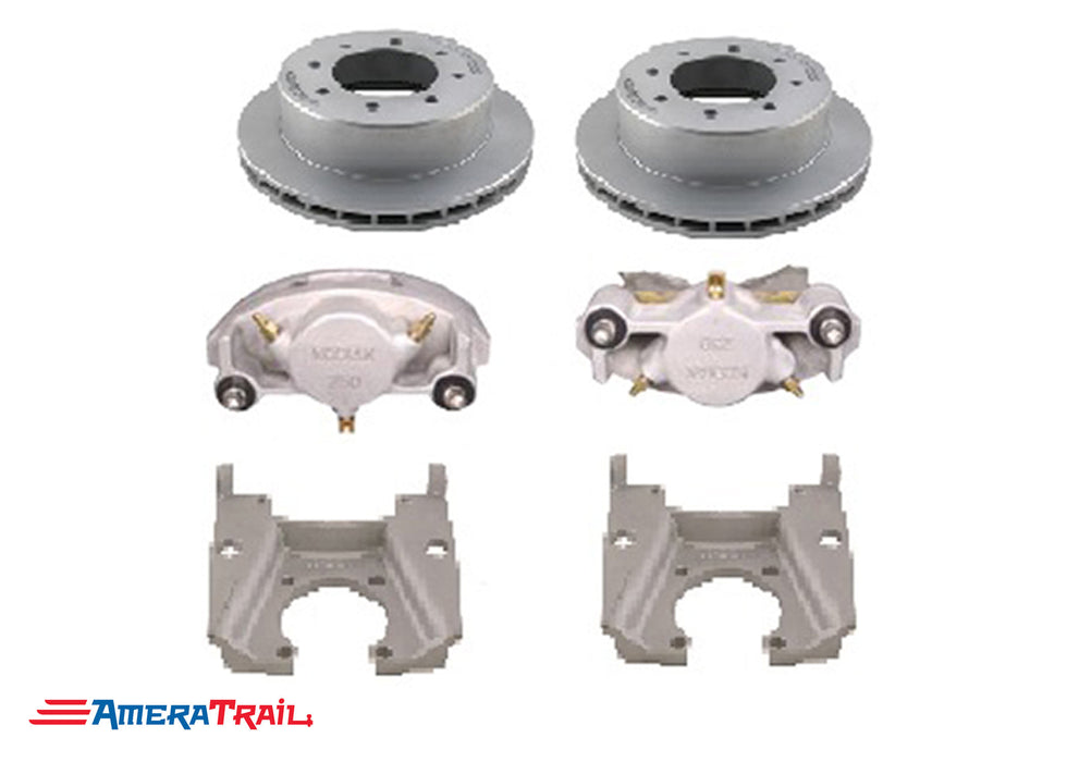"8 Lug 8K Kodiak Brake Kit for Dexter / Lippert Axles, STAINLESS CALIPERS w/ Dacromet Rotors & Mounting Brackets - Fits 5/8"" Wheel Studs"