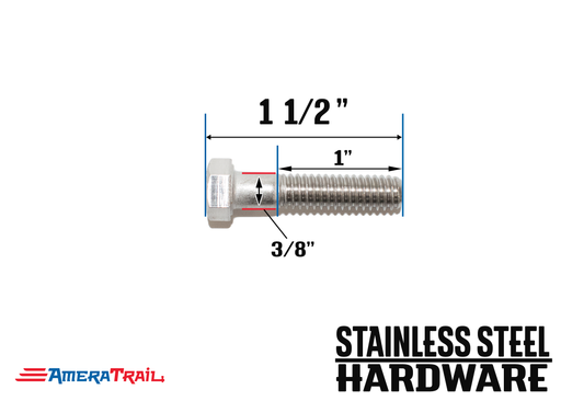 "Stainless Steel Bolt 3/8 x 1 1/2"", Hex Head - Available w/ Nut and Washer Hardware"