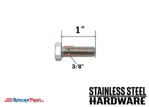 "Stainless Steel Bolt 3/8 x 1"", Hex Head - Available w/ Nut and Washer Hardware"