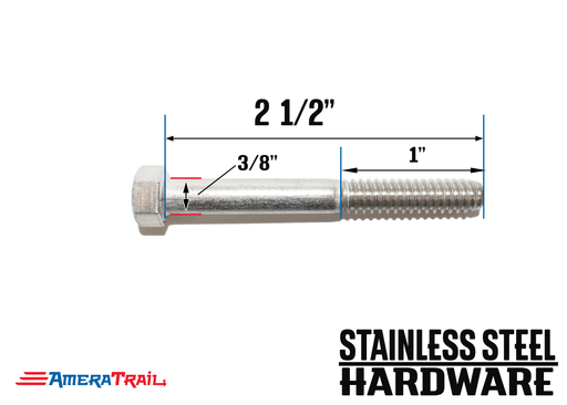 "Stainless Steel Bolt 3/8 x 2 1/2"", Hex Head - Available w/ Nut and Washer Hardware"
