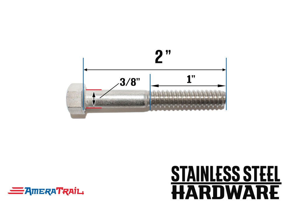 "Stainless Steel Bolt 3/8 x 2"", Hex Head - Available w/ Nut and Washer Hardware"