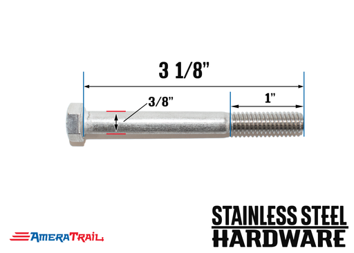 "Stainless Steel Bolt 3/8 x 3 1/8"", Hex Head - Available w/ Nut and Washer Hardware"