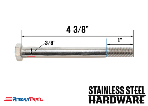 "Stainless Steel Bolt 3/8 x 4 3/8"", Hex Head - Available w/ Nut and Washer Hardware"