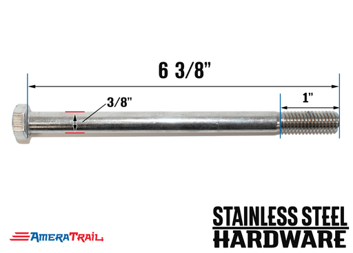 "Stainless Steel Bolt 3/8 x 6 3/8"", Hex Head - Available w/ Nut and Washer Hardware"