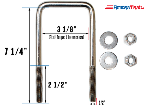 7  x 3 stainless steel u bolt
