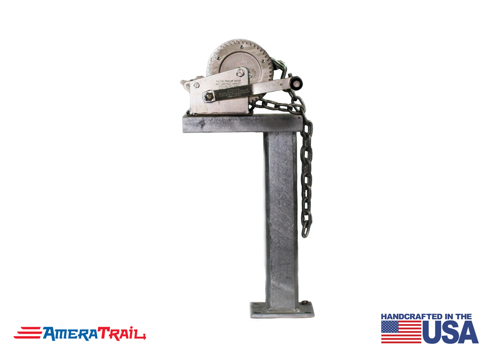 "Winch Stand 18"" Tall 90° Fixed - Includes 18"" Chain w/ S Hook"