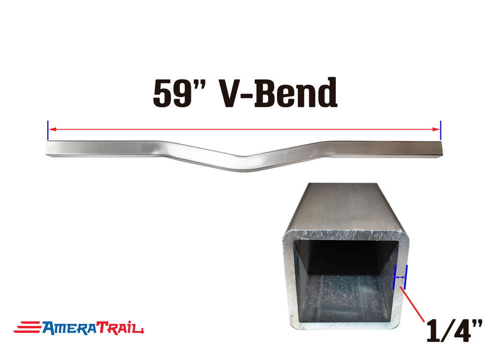 "59 X 3 X 3"" V Bend Cross Member, 1/4"" Wall, Structural Aluminum"