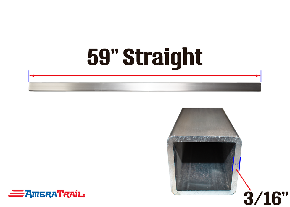 "59 X 3 X 3"" Straight Cross Member, 3/16"" Wall, Structural Aluminum"