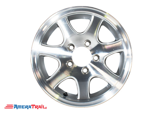 "15"" 5 Lug Aluminum Star Trailer Rim - 5 on 4.5"" Lug Pattern - 6"" Width, T02 7 SPOKE"