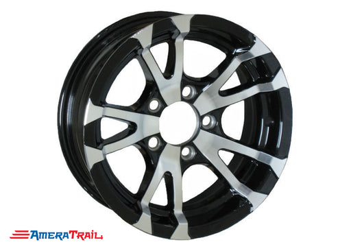 "15"" 5 Lug Avalanche Black and Silver Trailer Rim - 5 on 4.5"" Lug Pattern - 6"" Width"