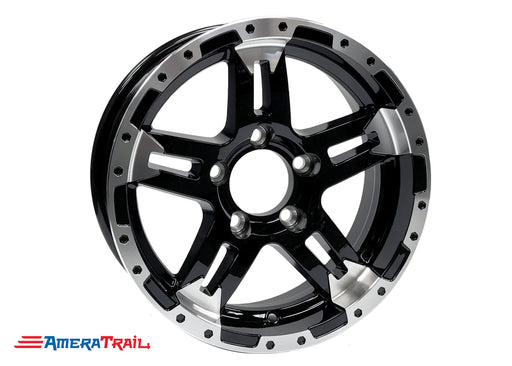 "15"" 5 Lug Turismo Black and Silver Trailer Rim - 5 on 4.5"" Lug Pattern - 6"" Width"
