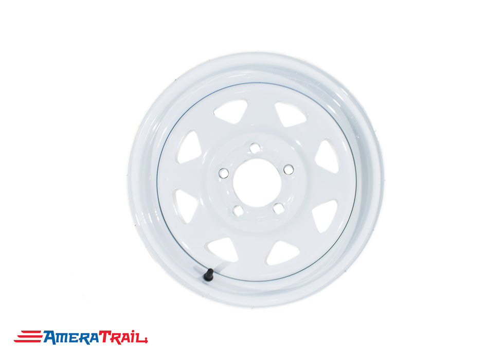 "13"" 5 Lug White Trailer Rim (Steel) - 5 on 4.5"" Lug Pattern"