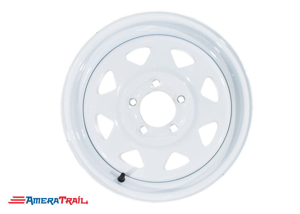 "15"" 5 Lug White Trailer Rim (Steel) - 5 on 4.5"" Lug Pattern"