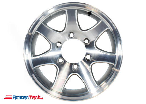 "16"" 6 Lug Aluminum Star Trailer Rim - 6 on 5.5"" Lug Pattern - 6"" Width, T02 7 SPOKE"