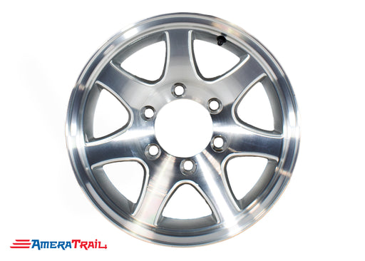 "15"" 6 Lug Aluminum Star Trailer Rim - 6 on 5.5"" Lug Pattern - 6"" Width, T02 7 SPOKE"
