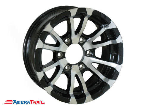 "15"" 6 Lug Avalanche Black and Silver Trailer Rim - 6 on 5.5"" Lug Pattern - 6"" Width"