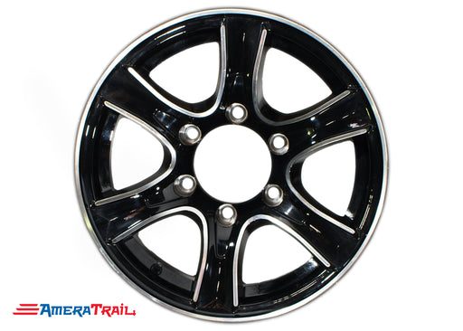 "16"" 6 Lug Thoroughbred Black and Silver Trailer Rim - 6 on 5.5"" Lug Pattern - 6"" Width"