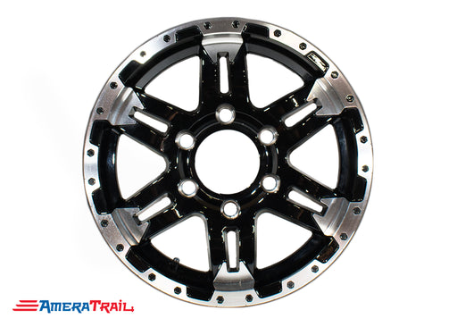 "15"" 6 Lug Turismo Black and Silver Trailer Rim - 6 on 5.5"" Lug Pattern - 6"" Width"