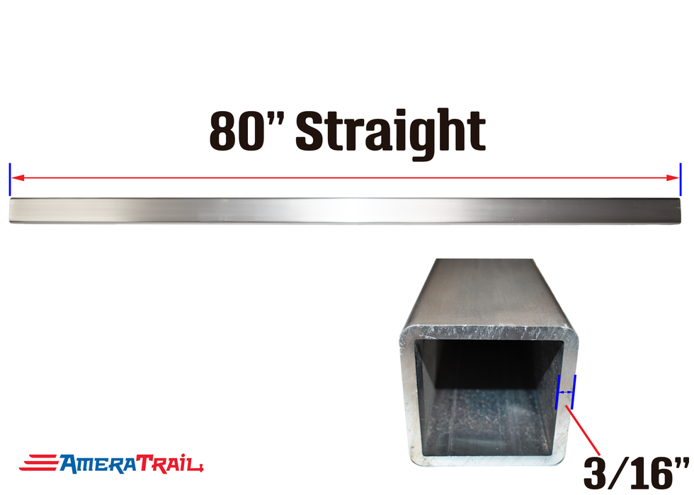 "80 X 3 X 3"" Straight Cross Member, 3/16"" Wall, Structural Aluminum"