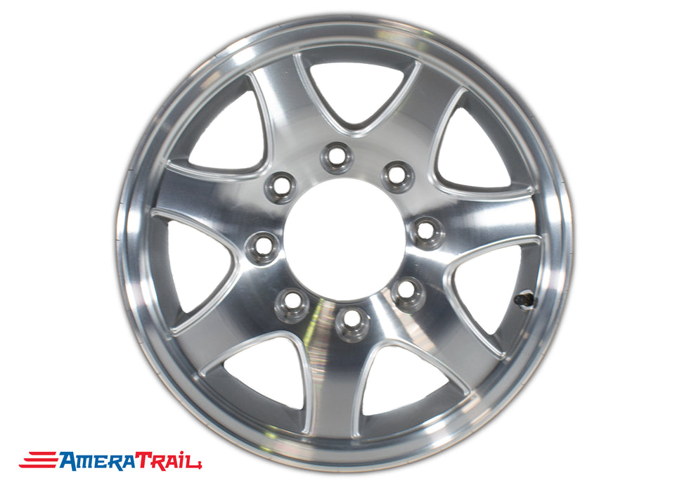 "16"" 8 Lug Aluminum Star Trailer Rim - 8 on 6.5"" Lug Pattern - 6"" Width, T02 7 SPOKE"