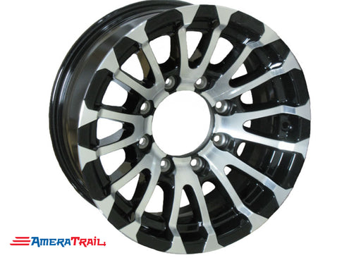 "16"" 8 Lug Avalanche Black and Silver Trailer Rim - 8 on 6.5"" Lug Pattern - 6"" Width"