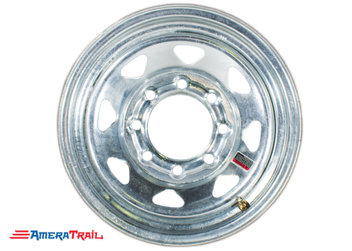 "16"" 8 Lug Galvanized Trailer Rim - 8 on 6.5"" Lug Pattern - 6"" Width"