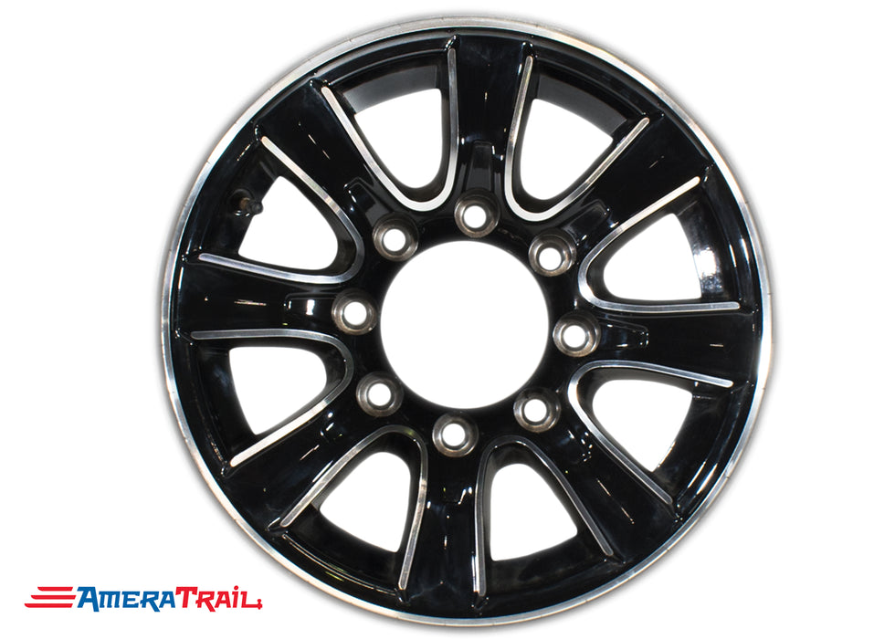"16"" 8 Lug Thoroughbred Black and Silver Trailer Rim - 8 on 6.5"" Lug Pattern - 6"" Width"