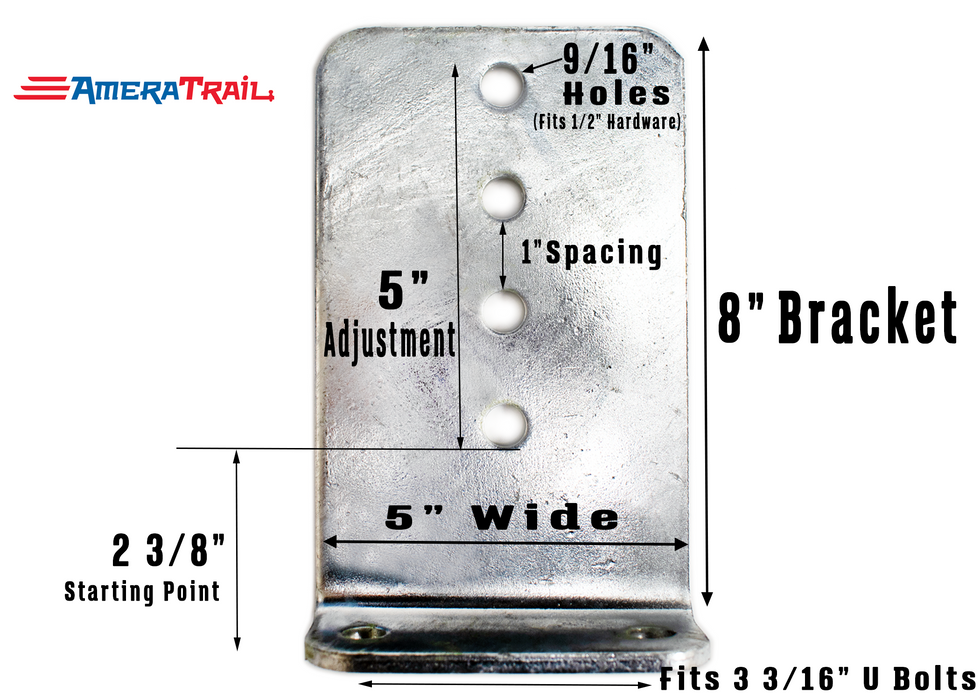 "8"" Vertical Bunk Bracket for Big Wood Bunks - 8"" H x 5"" Wide - Galvanized Finish"