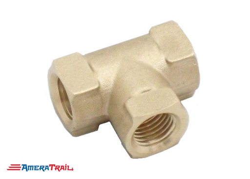 "T Shaped 3/16"" Female Brass Fitting - Compatible w/ Most Boat Trailer Brakes"